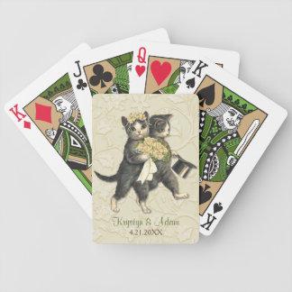 Gatos elegantes que casan la marfil baraja de cartas bicycle