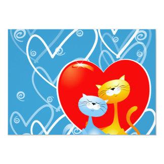 Gatos en el amor, invitación invitación 12,7 x 17,8 cm