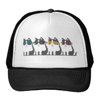 Gatos en gorra del arte del pixel de la fila de lo