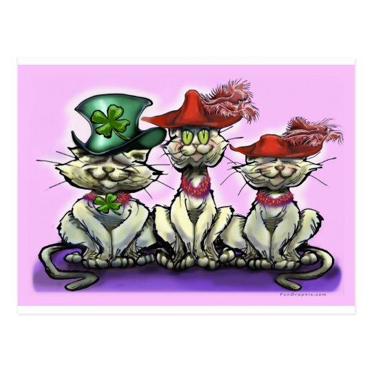 Gatos en gorras divertidos postal