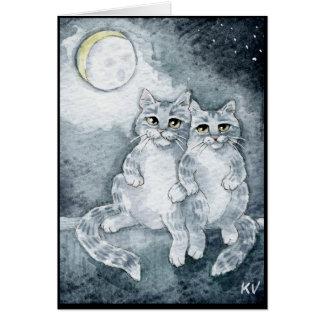 Gatos en tarjeta de felicitación del amor