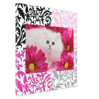 Gatos, gatitos, personalizar, rosa fuerte, negro,  lona envuelta para galerias