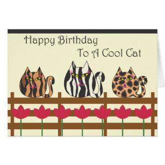 Gatos gordos en tarjeta de cumpleaños de la cerca