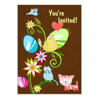 Gatos, huevos de Pascua e invitación del Invitación 12,7 X 17,8 Cm