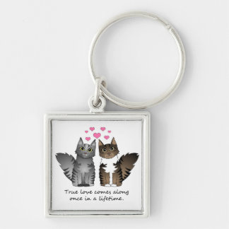 Gatos lindos - amor verdadero llavero cuadrado plateado