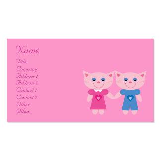 Gatos lindos del dibujo animado que fechan tarjetas de visita