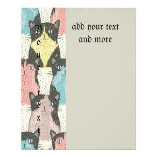 Gatos, lindos, diversión, modelo, de moda, folleto 11,4 x 14,2 cm