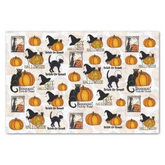 Gatos negros de Halloween, calabazas, y los gorras Papel De Seda