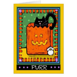 Gatos negros de Halloween, ronroneo Tarjeta De Felicitación