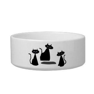 Gatos negros del cuenco 3 adorables del gato comedero para mascota