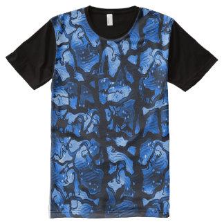 Gatos negros en el desafío del árbol camisetas con estampado integral