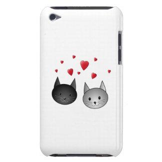 Gatos negros y grises lindos, con los corazones iPod Case-Mate protector