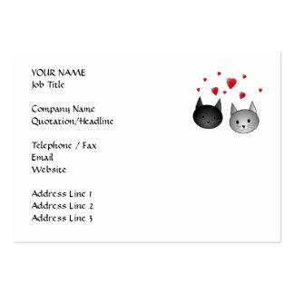 Gatos negros y grises lindos con los corazones plantillas de tarjeta de negocio