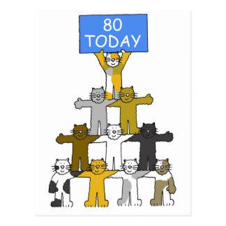 Gatos que celebran el 80.o cumpleaños postal