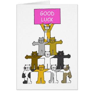 "Gatos que le desean ""buena suerte"". tarjeta de felicitación"
