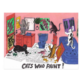Gatos que pintan, arte chistoso de la pintura de postal