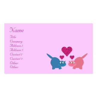 Gatos y corazones lindos del dibujo animado que fe plantilla de tarjeta de visita