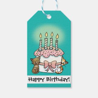 Gatos y cumpleaños de la torta etiquetas para regalos
