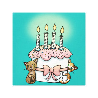 Gatos y cumpleaños de la torta impresiones en lona estiradas