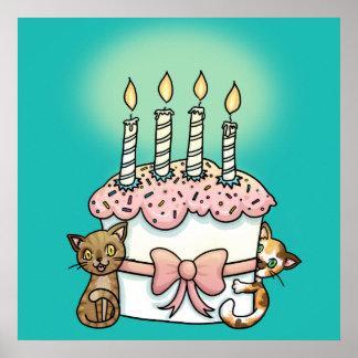 Gatos y cumpleaños de la torta póster