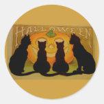 Gatos y Jack O'Lantern de Halloween del vintage Etiquetas
