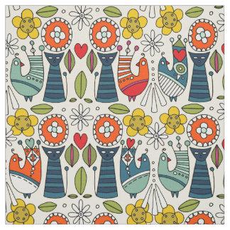 Gatos y pájaros folksy suecos tela