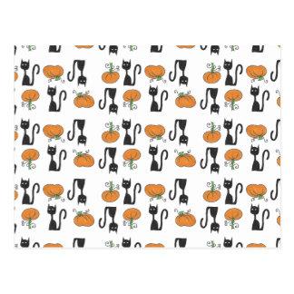 Gatos y postal de las calabazas