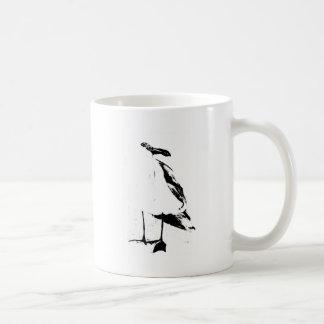 Gaviota negra del esquema de la tinta taza de café