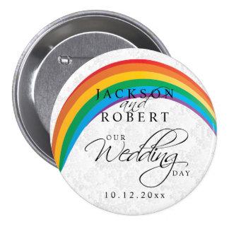 Gay del arco iris - nuestro día de boda chapa redonda de 7 cm