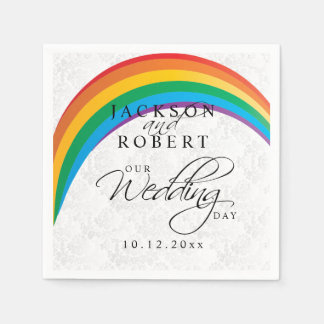 Gay del arco iris - nuestro día de boda servilletas de papel