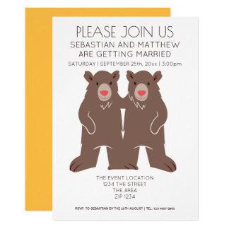 Gay del boda del oso del dibujo animado de dos invitación 12,7 x 17,8 cm