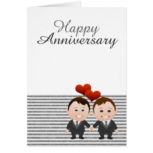 Gay feliz del aniversario de la enhorabuena temáti tarjetón