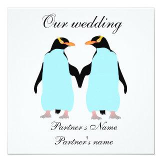 Gay, pingüinos en colores pastel que casan la invitación 13,3 cm x 13,3cm