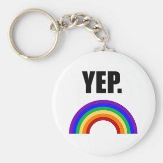 """Gay """"Yep."""" Llavero del arco iris"""
