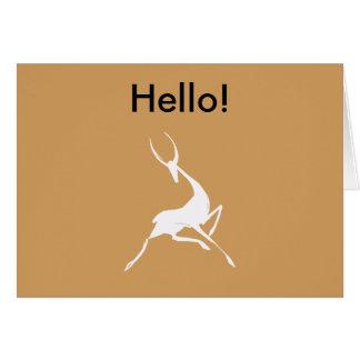 Gazelle blanco dibujado mano juguetónamente tarjeta