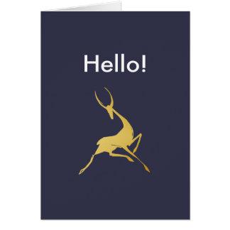 Gazelle dibujado mano juguetónamente elegante del tarjeta