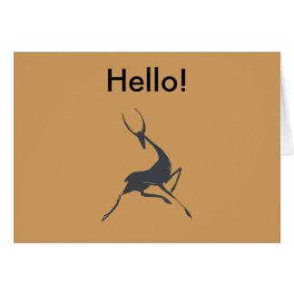 Gazelle gris dibujado mano juguetónamente elegante tarjeta