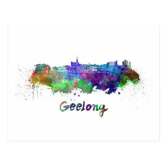 Geelong skyline in watercolor postal
