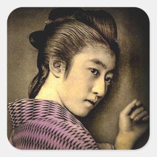 Geisha en el vintage Japón viejo de las sombras Pegatina Cuadrada