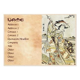 Geisha japonés fresco de la voluta del ukiyo-e del tarjetas de visita grandes