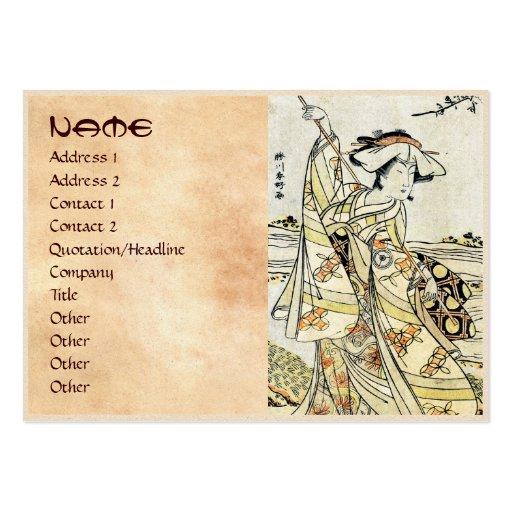 Geisha japonés fresco de la voluta del ukiyo-e del tarjetas de visita