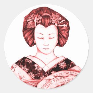 Geisha Ojos Cerrados Pegatina
