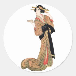 Geisha Pegatina Redonda
