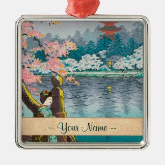 Geisha y cerezo, paisaje del japonés del parque de ornamento de reyes magos