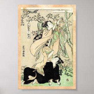 Geishas japoneses frescos de la voluta dos del póster