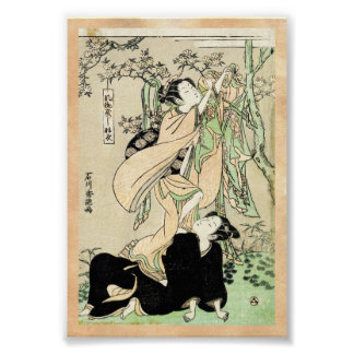 Geishas japoneses frescos de la voluta dos del uki póster