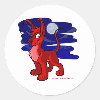 Gelert rojo orgulloso por claro de luna pegatina redonda