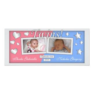 Gemelos chica y invitaciones del nacimiento del invitación 10,1 x 23,5 cm