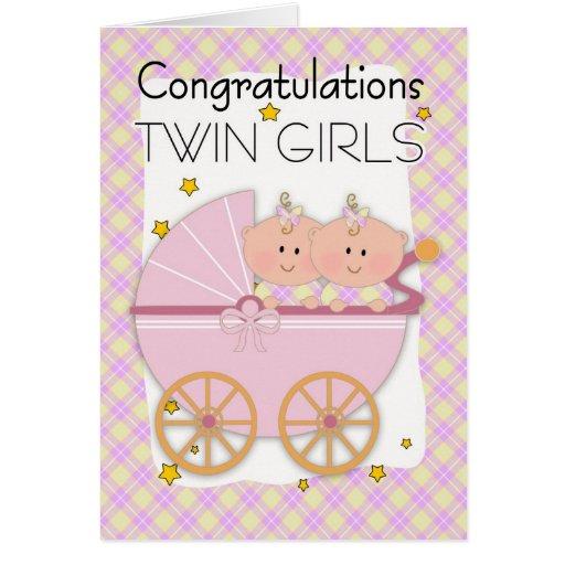 Gemelos - chicas gemelos de la enhorabuena en un c felicitación
