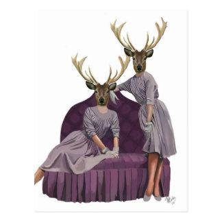 Gemelos de los ciervos en Dresses.jpg púrpura Postal